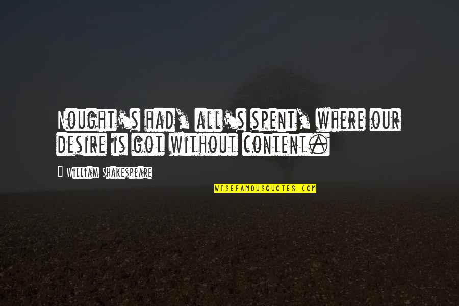 Lady's Quotes By William Shakespeare: Nought's had, all's spent, where our desire is