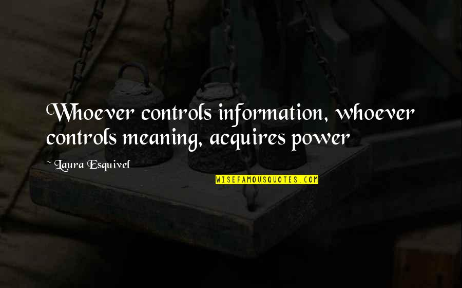 Laeta Quotes By Laura Esquivel: Whoever controls information, whoever controls meaning, acquires power
