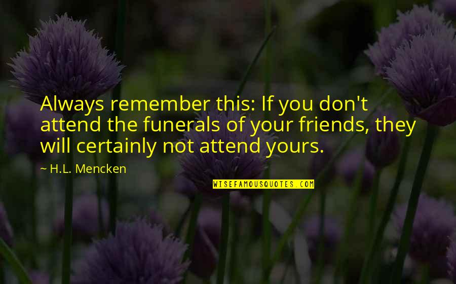 L'age Quotes By H.L. Mencken: Always remember this: If you don't attend the