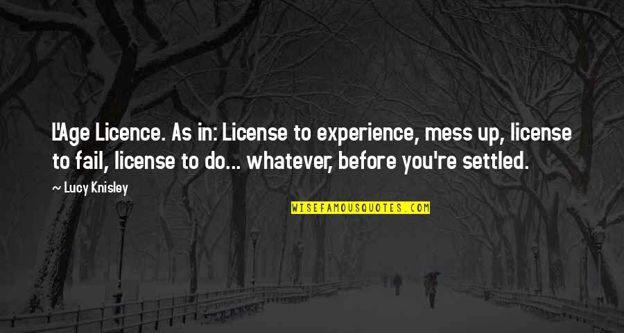 L'age Quotes By Lucy Knisley: L'Age Licence. As in: License to experience, mess