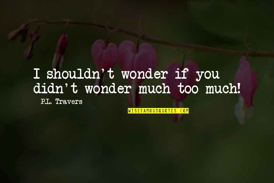 L'age Quotes By P.L. Travers: I shouldn't wonder if you didn't wonder much