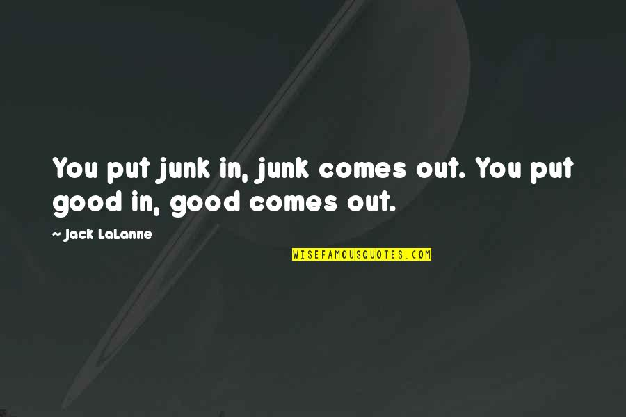 Lalanne Quotes By Jack LaLanne: You put junk in, junk comes out. You