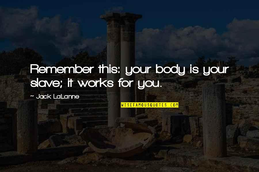 Lalanne Quotes By Jack LaLanne: Remember this: your body is your slave; it
