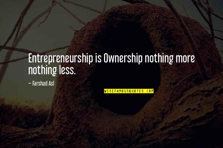 Lamp Lightening Quotes By Farshad Asl: Entrepreneurship is Ownership nothing more nothing less.