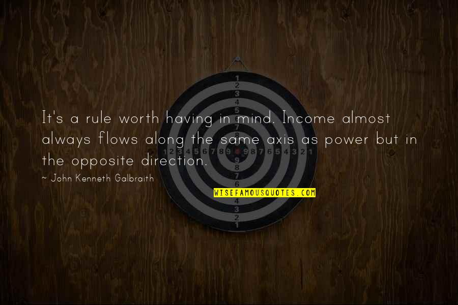 Lamp Lightening Quotes By John Kenneth Galbraith: It's a rule worth having in mind. Income