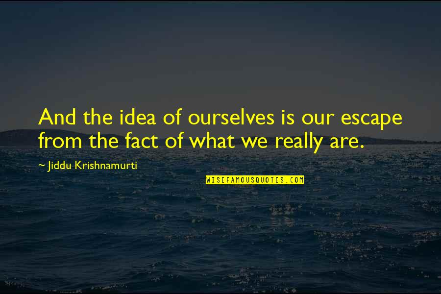 Lamperouge Quotes By Jiddu Krishnamurti: And the idea of ourselves is our escape