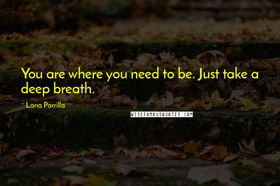Lana Parrilla quotes: You are where you need to be. Just take a deep breath.