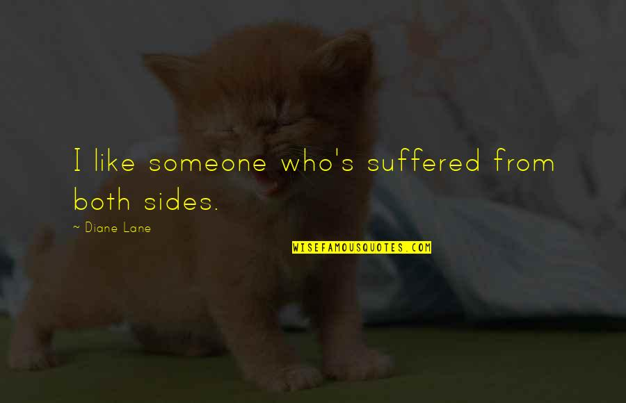 Lane Quotes By Diane Lane: I like someone who's suffered from both sides.