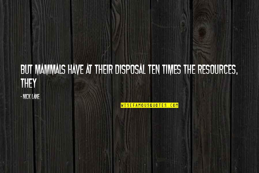 Lane Quotes By Nick Lane: But mammals have at their disposal ten times