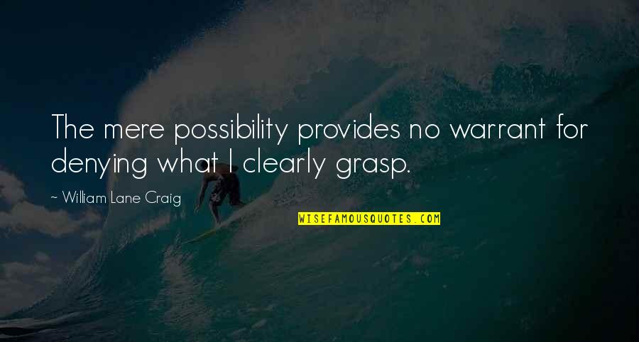 Lane Quotes By William Lane Craig: The mere possibility provides no warrant for denying