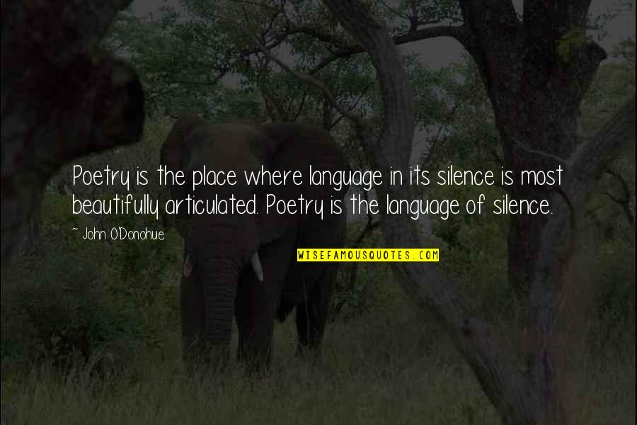 Language And Silence Quotes By John O'Donohue: Poetry is the place where language in its