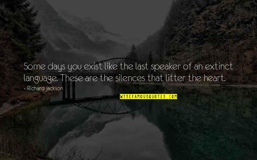 Language And Silence Quotes By Richard Jackson: Some days you exist like the last speaker