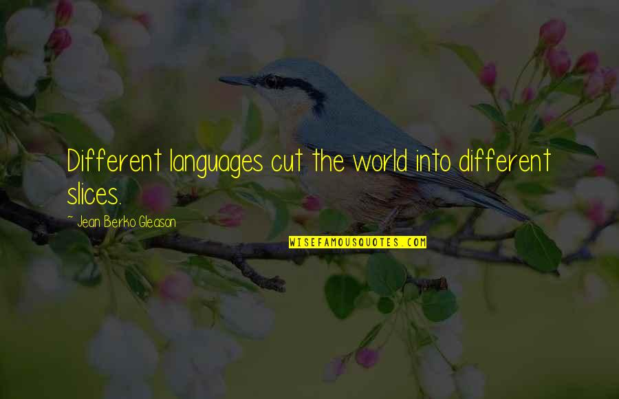 Languages Of The World Quotes By Jean Berko Gleason: Different languages cut the world into different slices.