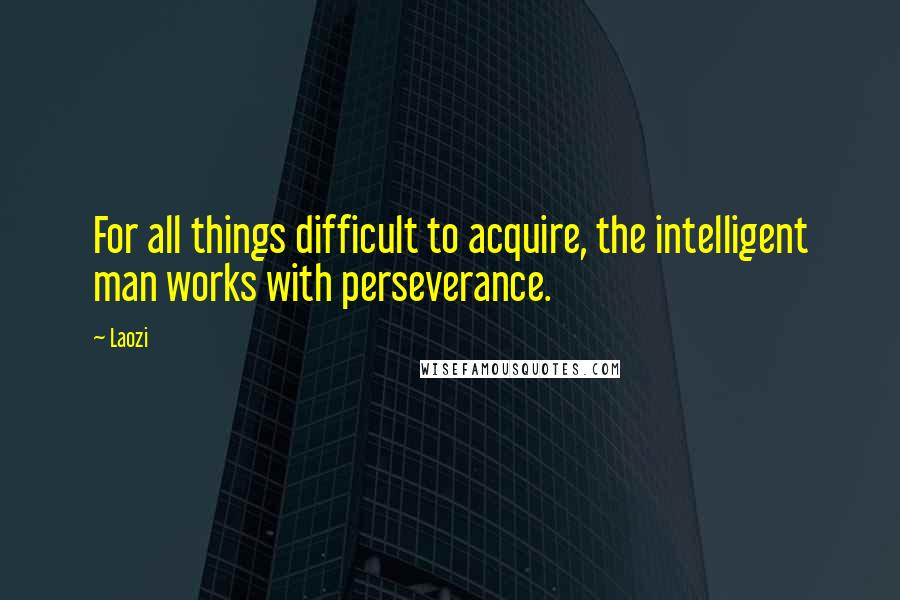 Laozi quotes: For all things difficult to acquire, the intelligent man works with perseverance.