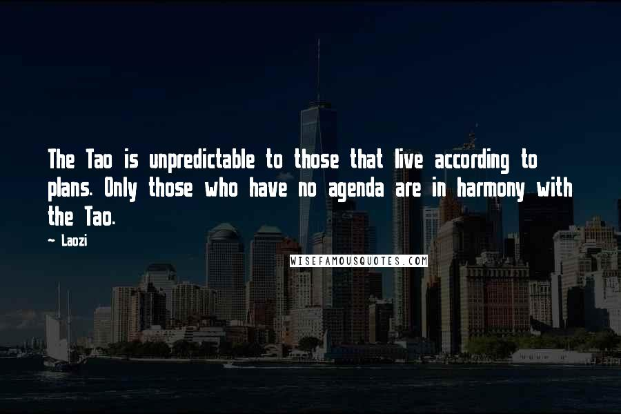Laozi quotes: The Tao is unpredictable to those that live according to plans. Only those who have no agenda are in harmony with the Tao.