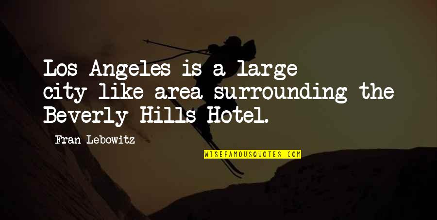 Large Cities Quotes By Fran Lebowitz: Los Angeles is a large city-like area surrounding