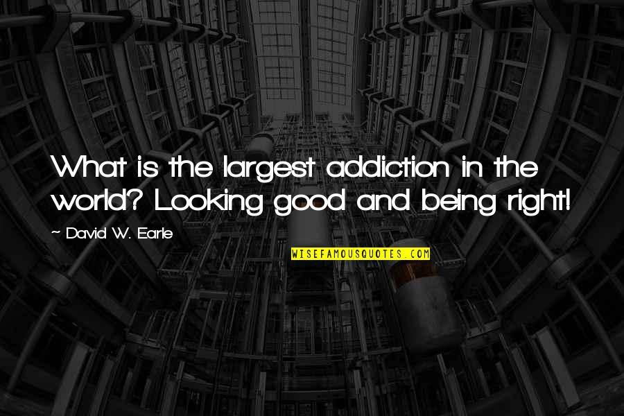 Largest Quotes By David W. Earle: What is the largest addiction in the world?