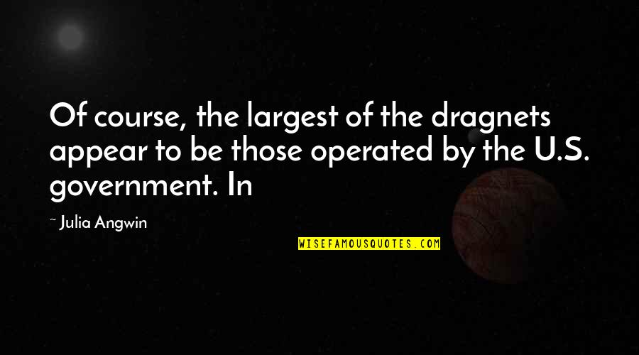 Largest Quotes By Julia Angwin: Of course, the largest of the dragnets appear