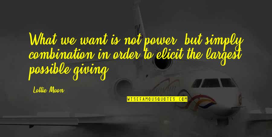 Largest Quotes By Lottie Moon: What we want is not power, but simply