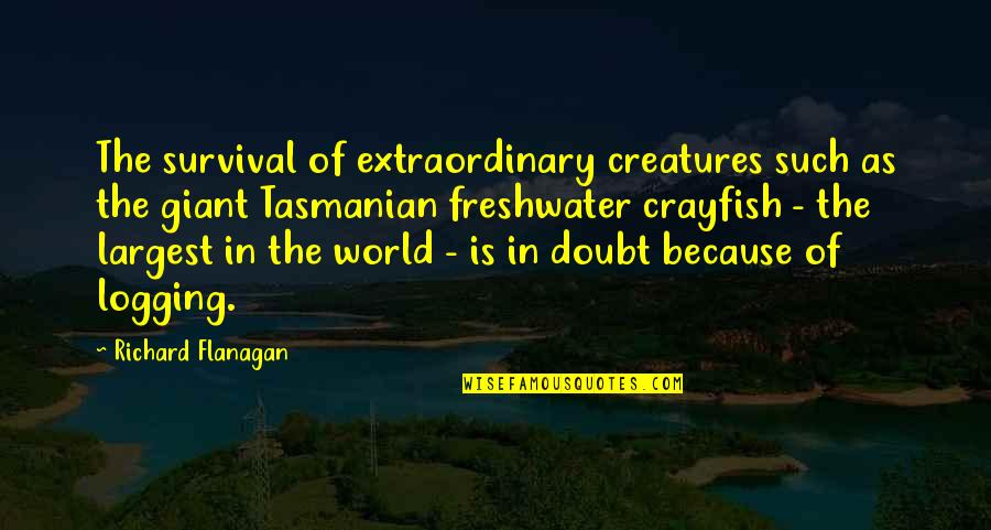Largest Quotes By Richard Flanagan: The survival of extraordinary creatures such as the