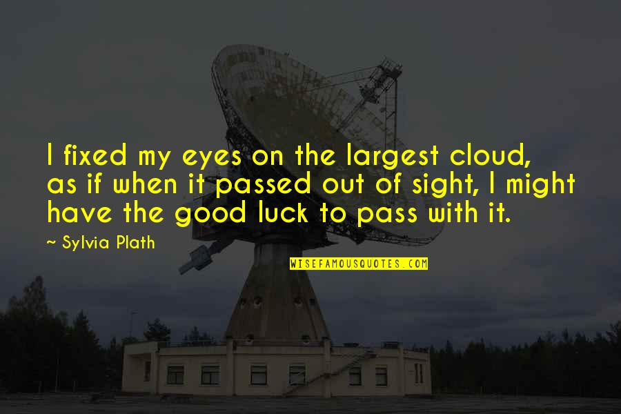 Largest Quotes By Sylvia Plath: I fixed my eyes on the largest cloud,
