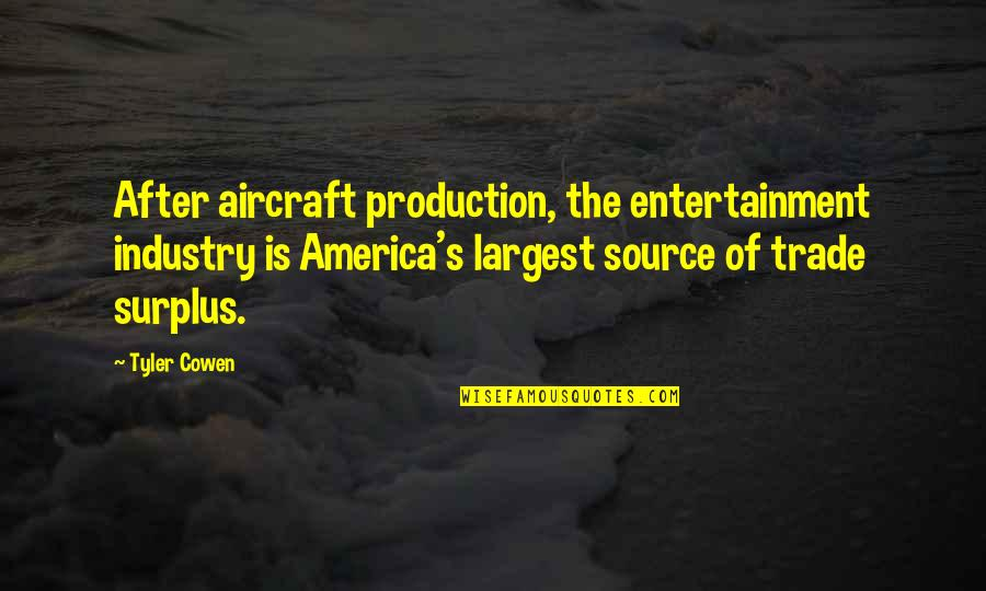 Largest Quotes By Tyler Cowen: After aircraft production, the entertainment industry is America's