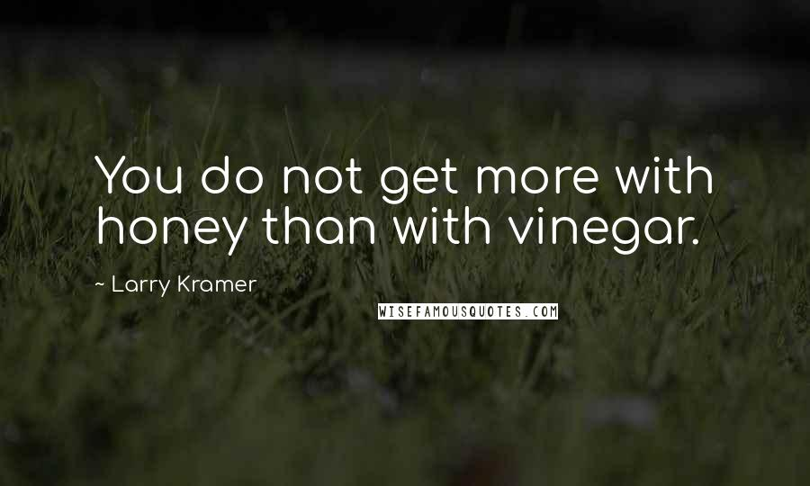 Larry Kramer quotes: You do not get more with honey than with vinegar.