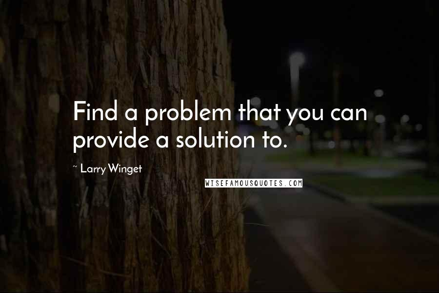 Larry Winget quotes: Find a problem that you can provide a solution to.