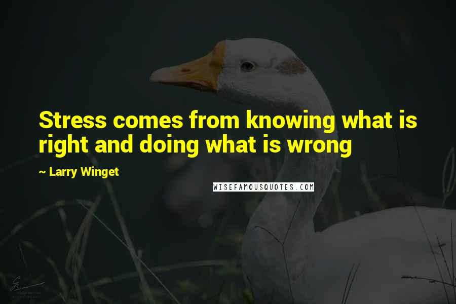 Larry Winget quotes: Stress comes from knowing what is right and doing what is wrong
