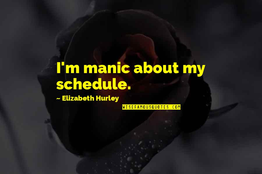 Last Day Email Quotes By Elizabeth Hurley: I'm manic about my schedule.