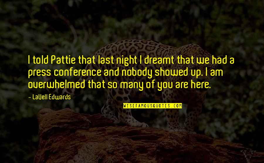 Last Night I Had A Dream Quotes By LaVell Edwards: I told Pattie that last night I dreamt