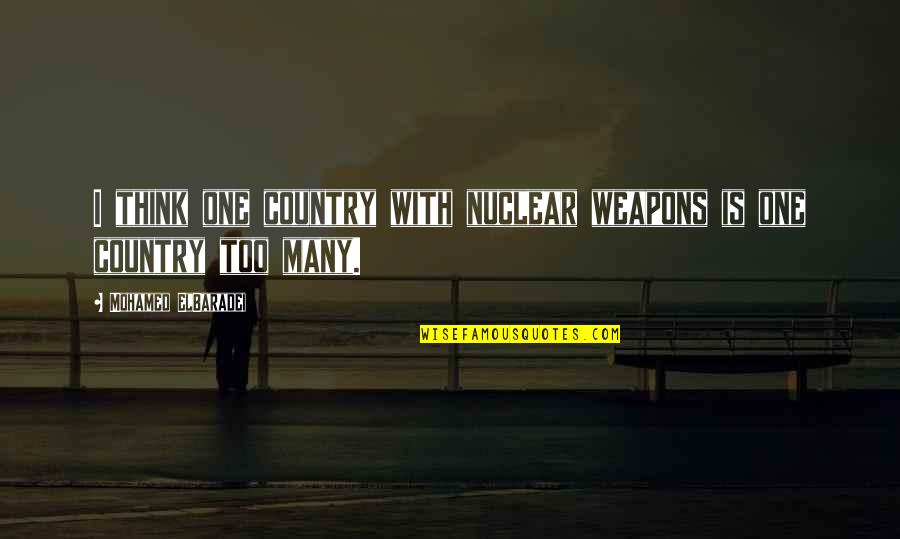 Lathi Quotes By Mohamed ElBaradei: I think one country with nuclear weapons is
