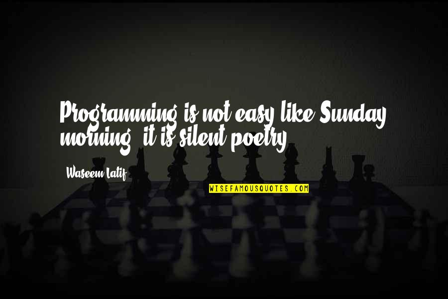 Latif Quotes By Waseem Latif: Programming is not easy like Sunday morning, it