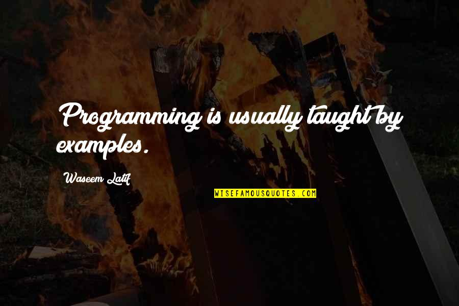 Latif Quotes By Waseem Latif: Programming is usually taught by examples.