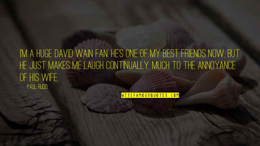 Laughing And Friends Quotes By Paul Rudd: I'm a huge David Wain fan. He's one