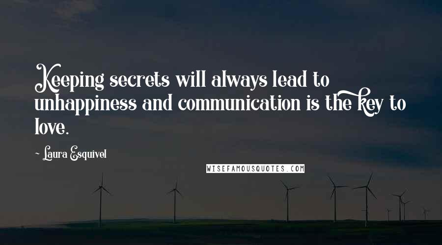 Laura Esquivel quotes: Keeping secrets will always lead to unhappiness and communication is the key to love.