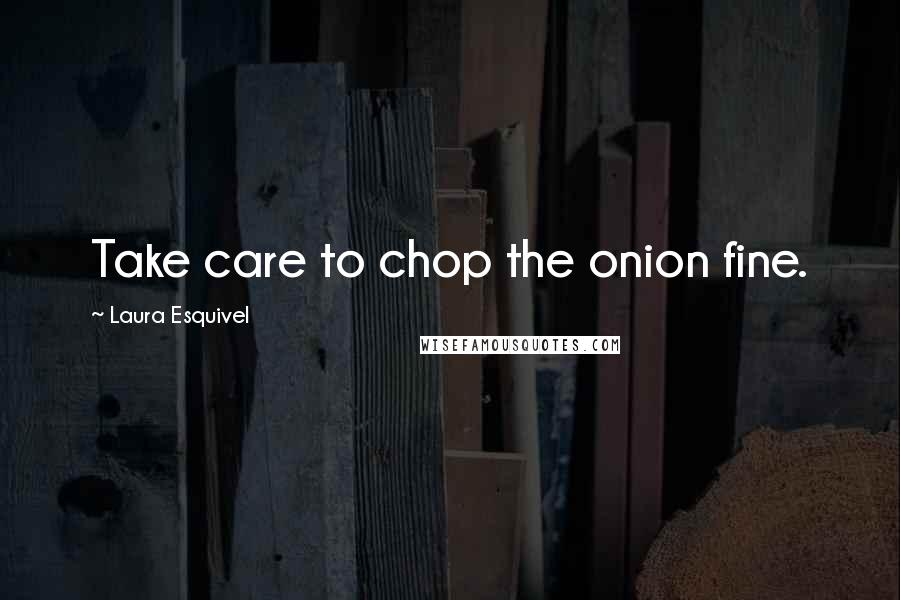 Laura Esquivel quotes: Take care to chop the onion fine.