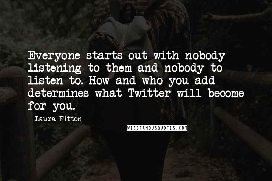 Laura Fitton quotes: Everyone starts out with nobody listening to them and nobody to listen to. How and who you add determines what Twitter will become for you.