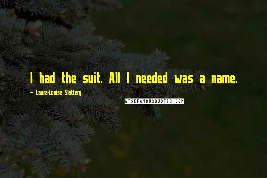 Laura-Louise Slattery quotes: I had the suit. All I needed was a name.