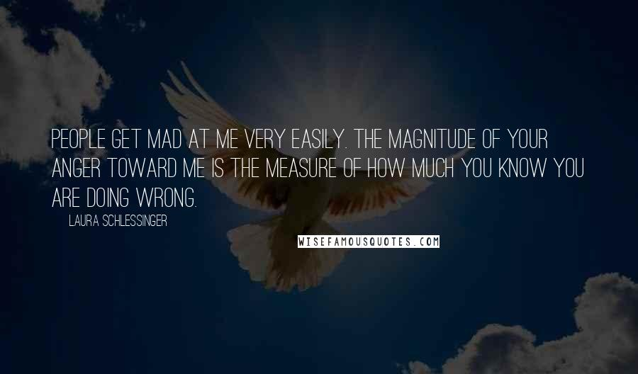 Laura Schlessinger quotes: People get mad at me very easily. The magnitude of your anger toward me is the measure of how much you know you are doing wrong.