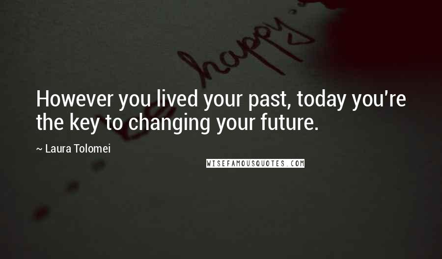 Laura Tolomei quotes: However you lived your past, today you're the key to changing your future.