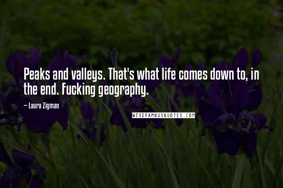 Laura Zigman quotes: Peaks and valleys. That's what life comes down to, in the end. Fucking geography.