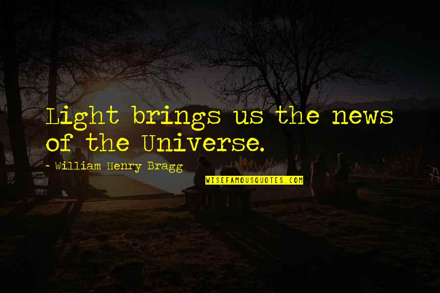 Laureate Quotes By William Henry Bragg: Light brings us the news of the Universe.