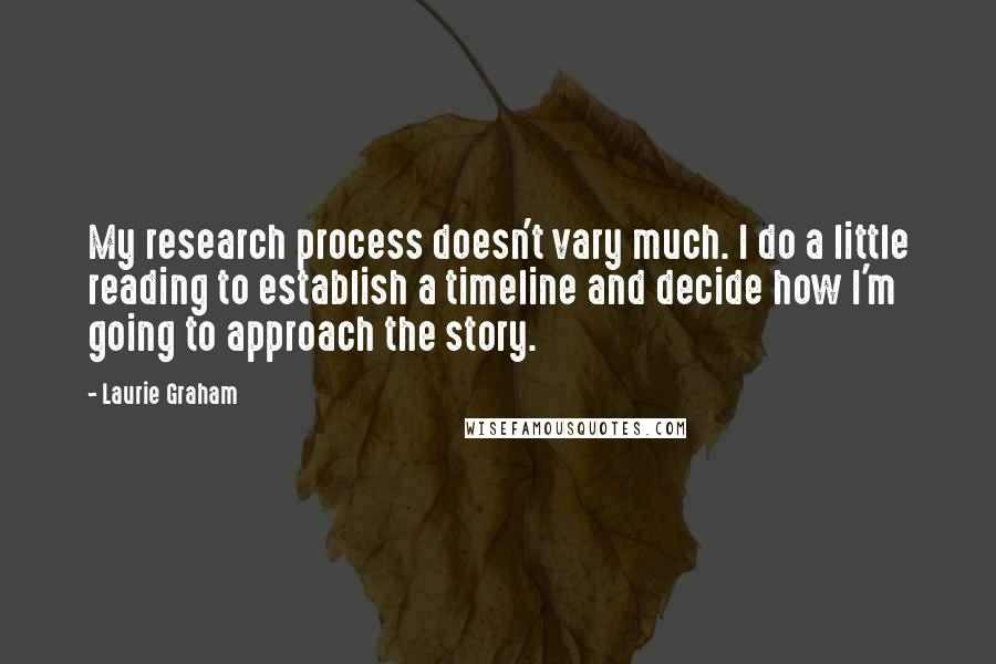 Laurie Graham quotes: My research process doesn't vary much. I do a little reading to establish a timeline and decide how I'm going to approach the story.