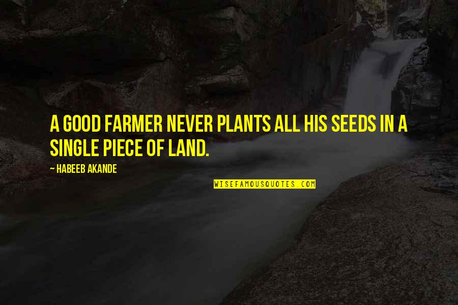 Lauryn Hill Short Quotes By Habeeb Akande: A good farmer never plants all his seeds