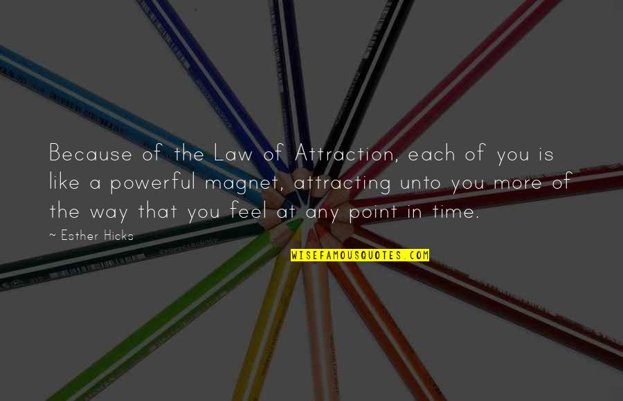 Law Of Attraction Quotes By Esther Hicks: Because of the Law of Attraction, each of