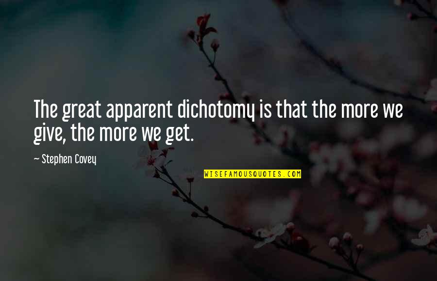 Law Of Attraction Quotes By Stephen Covey: The great apparent dichotomy is that the more