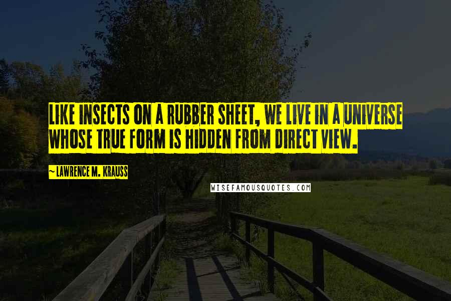 Lawrence M. Krauss quotes: Like insects on a rubber sheet, we live in a universe whose true form is hidden from direct view.