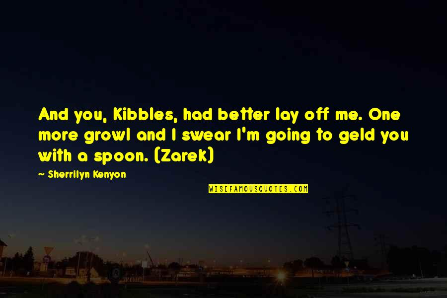 Lay Off Quotes By Sherrilyn Kenyon: And you, Kibbles, had better lay off me.
