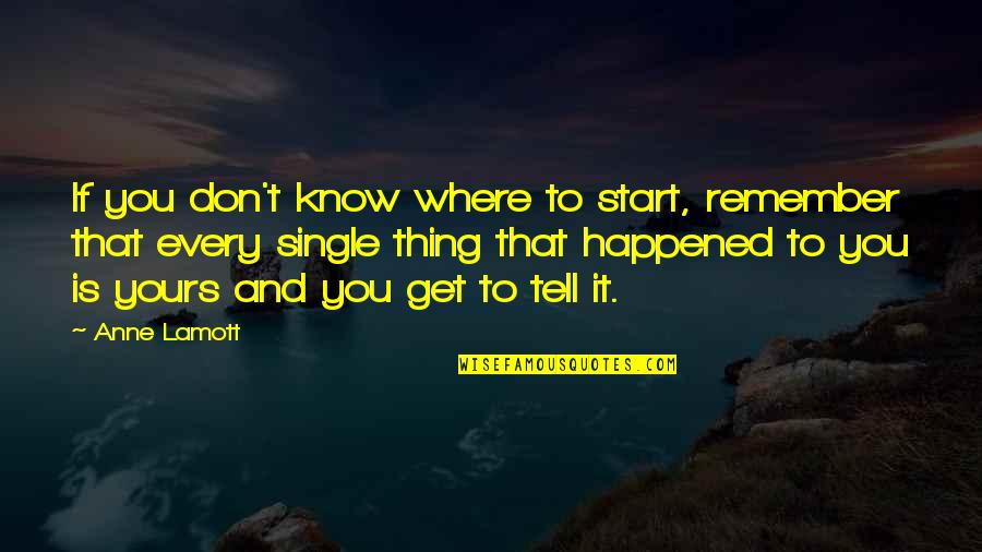 Layd Quotes By Anne Lamott: If you don't know where to start, remember